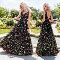 Sleeveless Embroidery Floral Maxi Dress Cultivate Oneself Backless Pendulum Ball Dress Women Sexy V Neck Printing Dinner Dress