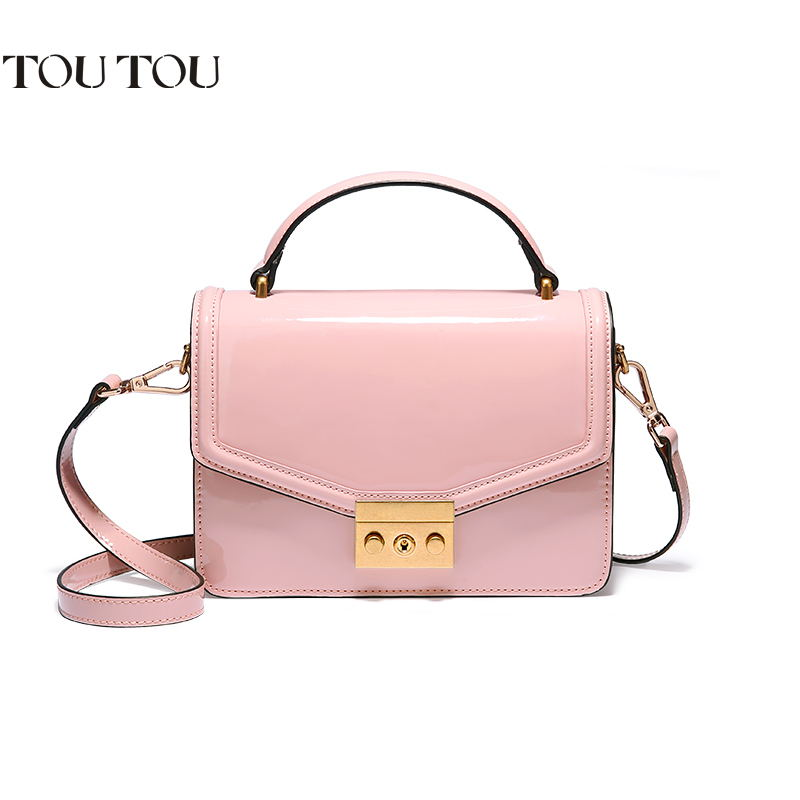 TOUTOU jelly bag new patent leather mini handbag edition contracted small party bag fashion girl one shoulder inclined shoulder sailor moon the same type bag fashion small pure and fresh and candy color one shoulder inclined shoulder bag