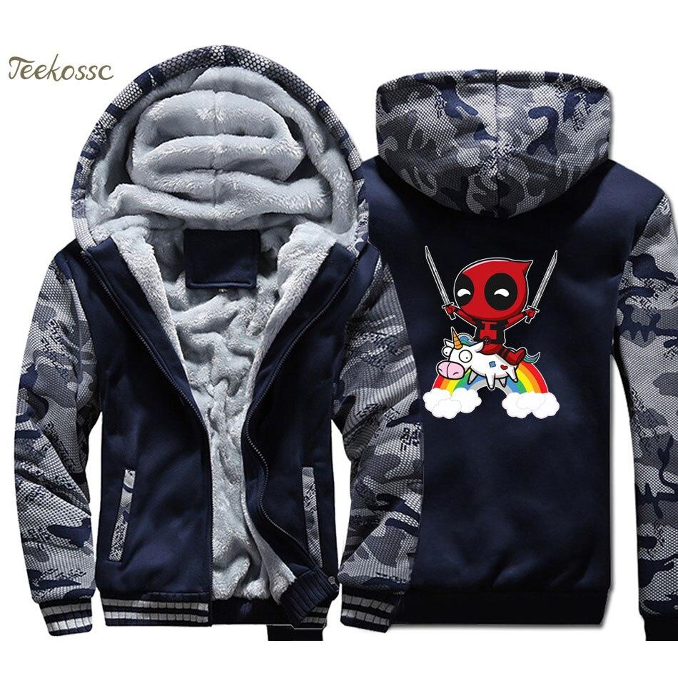 Deadpool Hoodie Coat Men Super Hero Dead Pool Hooded Sweatshirt 2018 Winter Fleece Thick  Funny Jacket Camouflage Streetwear 4XL