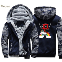 Deadpool Hoodie Coat Men Super Hero Dead Pool Hooded Sweatshirt 2018 Winter Fleece Thick  Funny Jacket Camouflage Streetwear 4XL