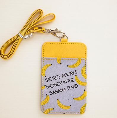 New arrival cartoon fruit banana pu id business card work card badge new arrival cartoon fruit banana pu id business card work card badge holder with neck lanyard for men women in badge holder accessories from office colourmoves