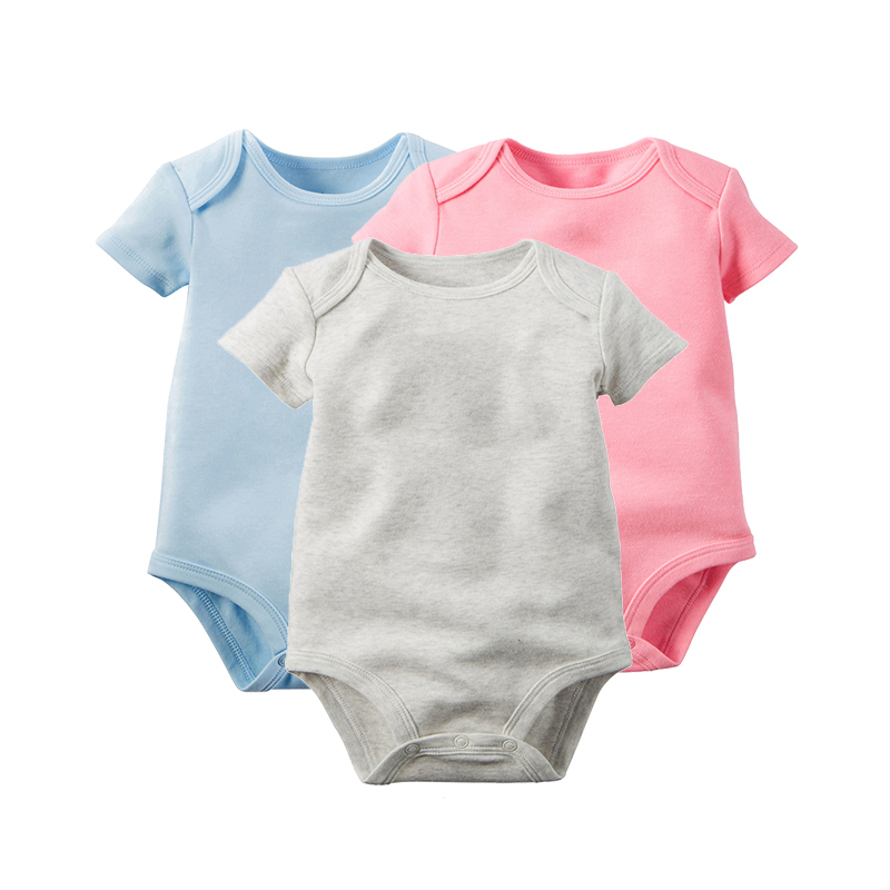 100%Cotton 3Pcs/Lot Baby Rompers Short Sleeve Baby Boys Clothing Solid Color O-Neck Jumpsuit Baby Girls Pajamas Clothes baby boys girls clothes newborn bebe rompers costume short sleeve ropa de bebe 100%cotton clothing 5pcs lot unisex 0 9months