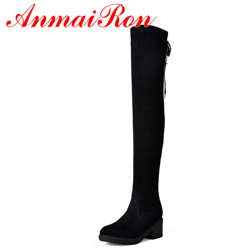 ANMAIRON Riding Boots Black Shoes Woman Lace Charms Zippers Over-the-knee Boots High Heels Round Toe Winter Boots Platform Shoes enmayer sexy red shoes woman high heels bowties charms size 34 47 zippers round toe winter over the knee boots platform shoes