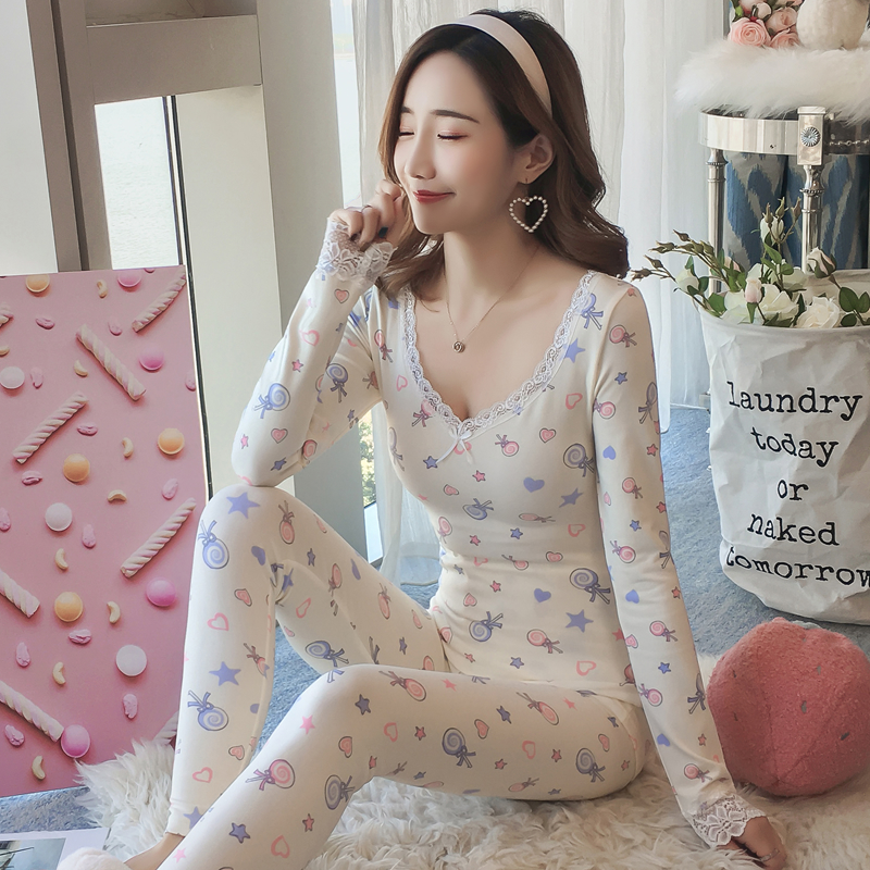2018 Autumn Winter Thermal Lace Underwear Sets For Women Long Sleeve Print Thick Warm Body Shaper Pajamas Femme V-neck Sleepwear