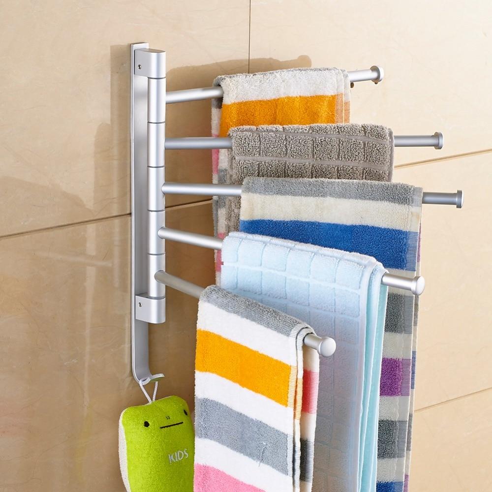 Stainless Steel Punch Free Towel Bar Rotating Towel Rack Bathroom Kitchen Wall-mounted Towel Polished Rack Holder Hardware