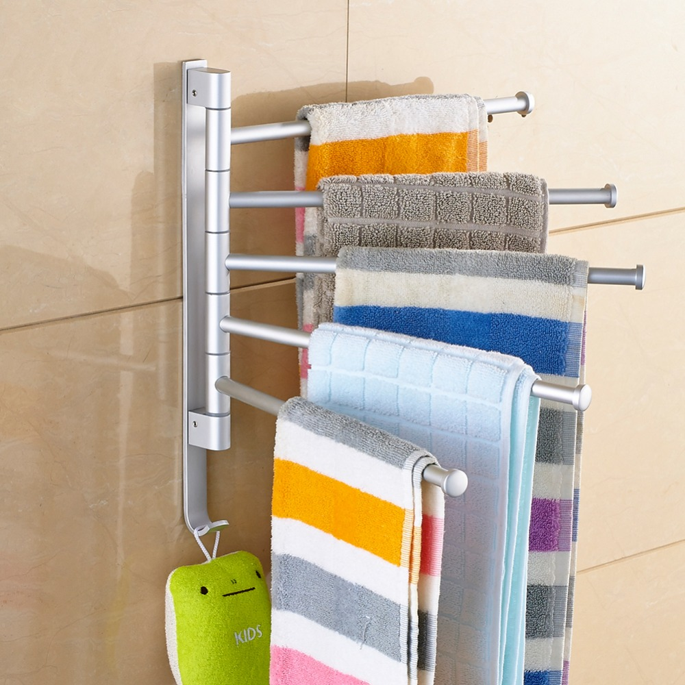 Stainless Steel Punch Towel Bar Rotating Towel Rack Holder Bathroom Kitchen Wall-mounted Towel Polished Rack Holder Towel Rack