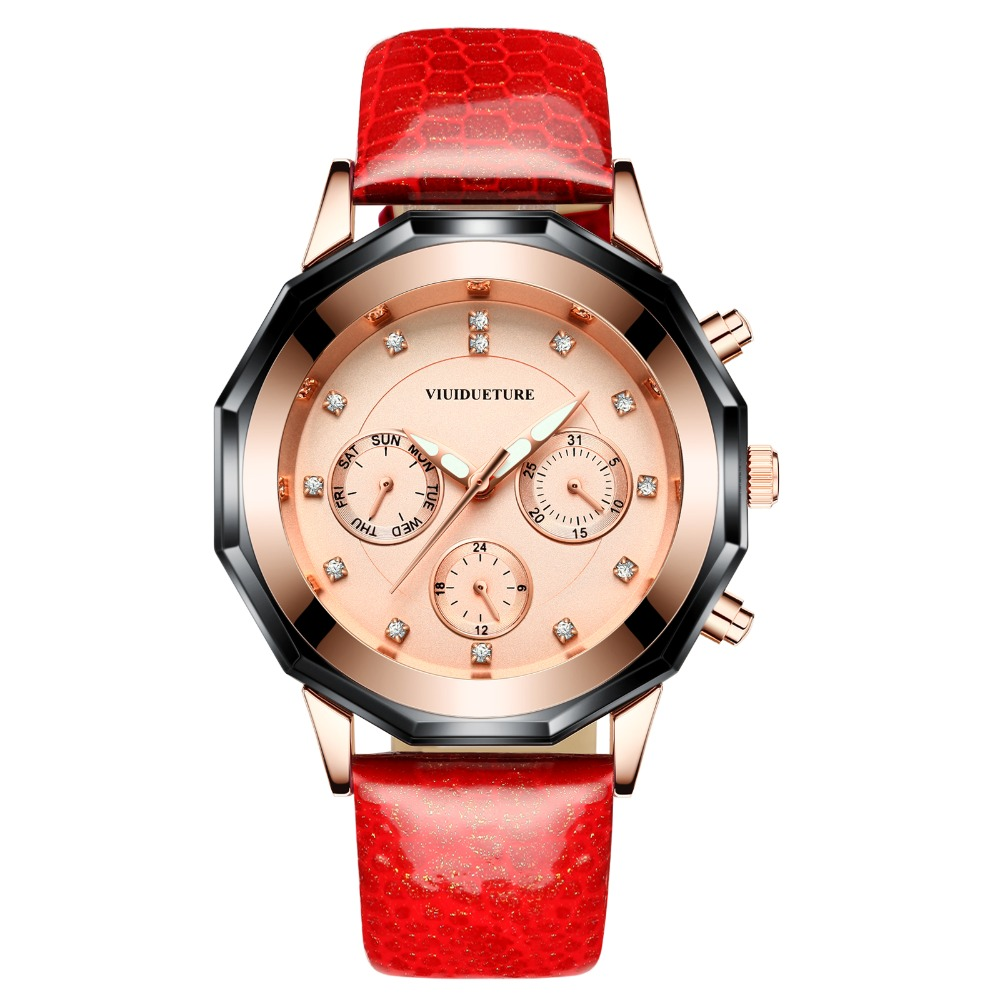 New 2019 brand ladies leather watch large round dial three eye sports and leisure watches quartz charming watch free shippin in Women 39 s Watches from Watches