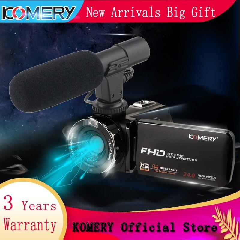 KOMERY New Arrivals Filmadora Câmera de Vídeo 3.0 polegada IPS HD Tela Sensível Ao Toque Real 1080 P câmera Suporte a Controle Remoto Original