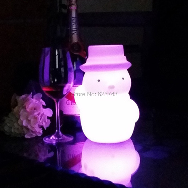 4pcs/lot Plastic rechargeable battery illuminated Christmas LED Snowman night table lamp led baby night light for Christmas gift