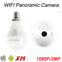 1080P 2MP Full HD 128G Fisheye 3D VR Infrared Panoramic Bulb Wifi Wireless Night Vision IP CCTV Surveillance Camera FreeShipping