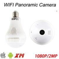 1080P 2MP Full HD 128G Fisheye 3D VR Infrared Panoramic Bulb Wifi Wireless Night Vision IP CCTV Surveillance Camera FreeShipping