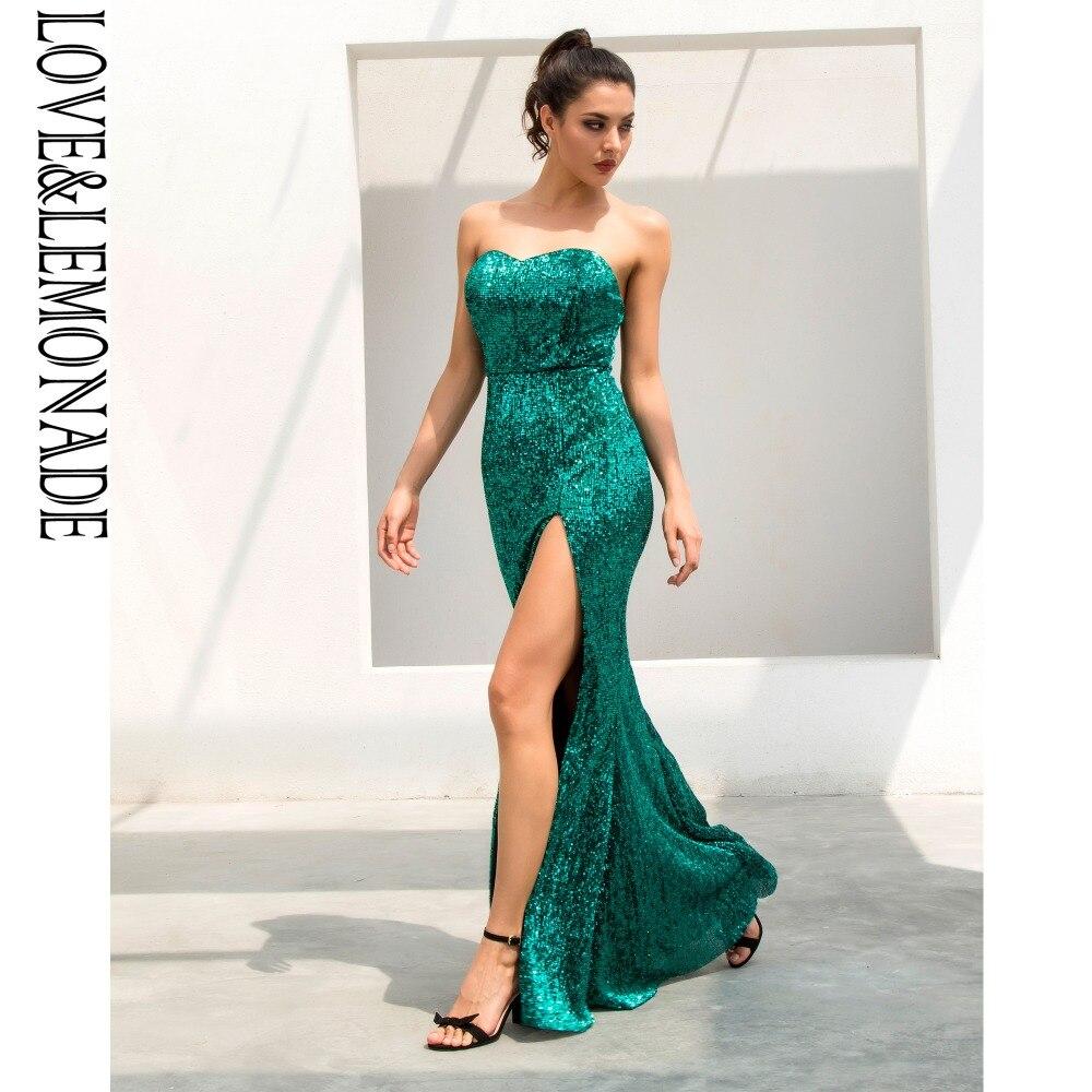 Vestido largo con lentejuelas elásticas con forma de cola de pez en forma de tubo verde Love & Lemonade LM1056-in Vestidos from Ropa de mujer    3