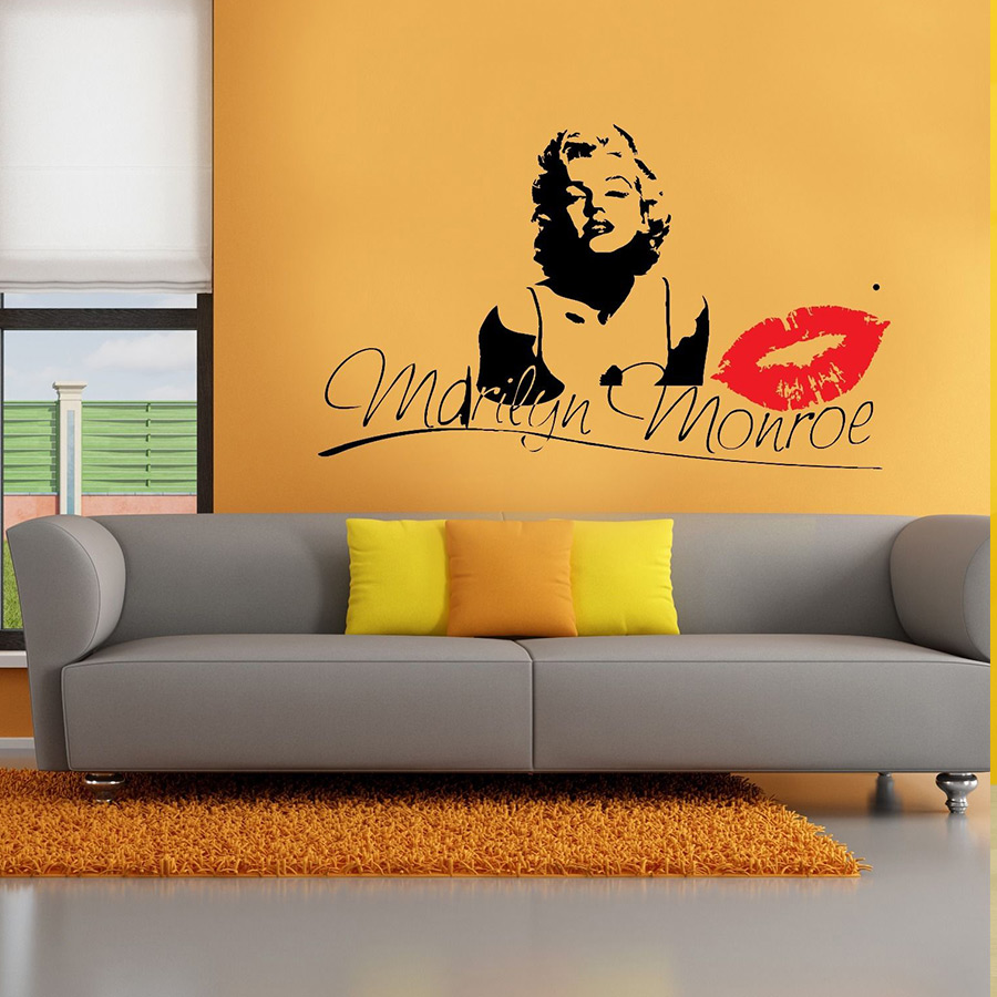 Marilyn Monroe Kiss Wall Decal Stickers Decor Easy Removable Sticker ...