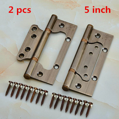 1Pair //Lot SUS 304 4 Non-Mortise Ball Bearing Door Hinge Free Mortise Hinges - Color: Red Bronze 2Pcs