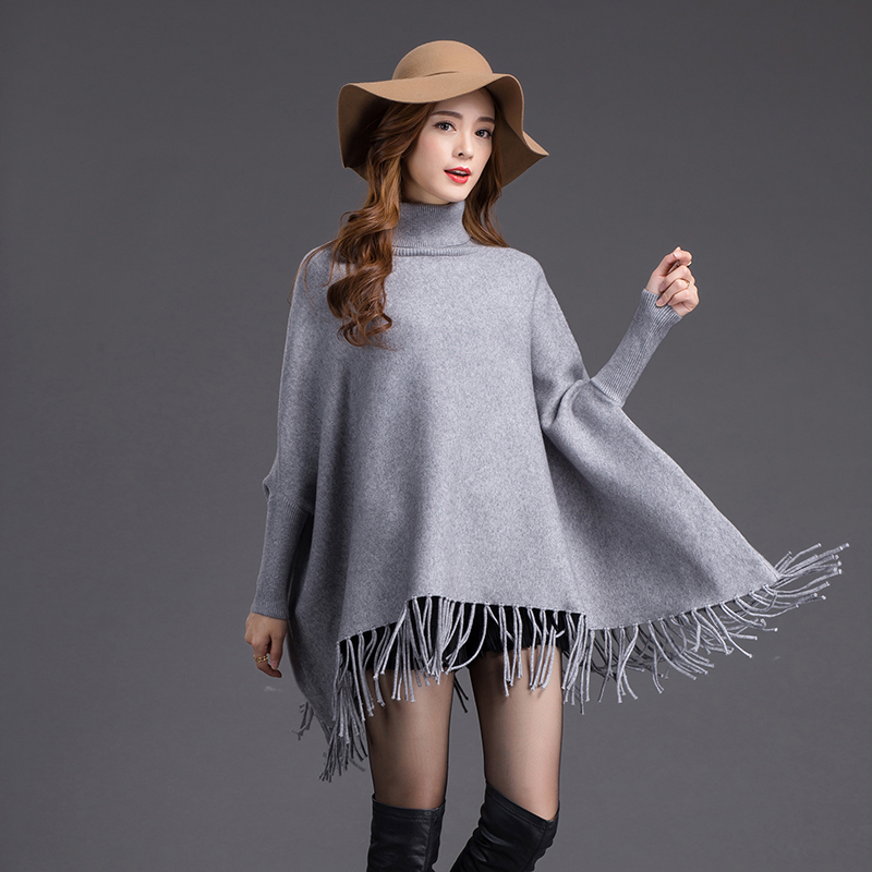 Europe America Brand New Winter Solid Gray Poncho Lady Elegant Long Fringle Sweater Chal Stole Tippet Pashmina Thick Shawl Warm