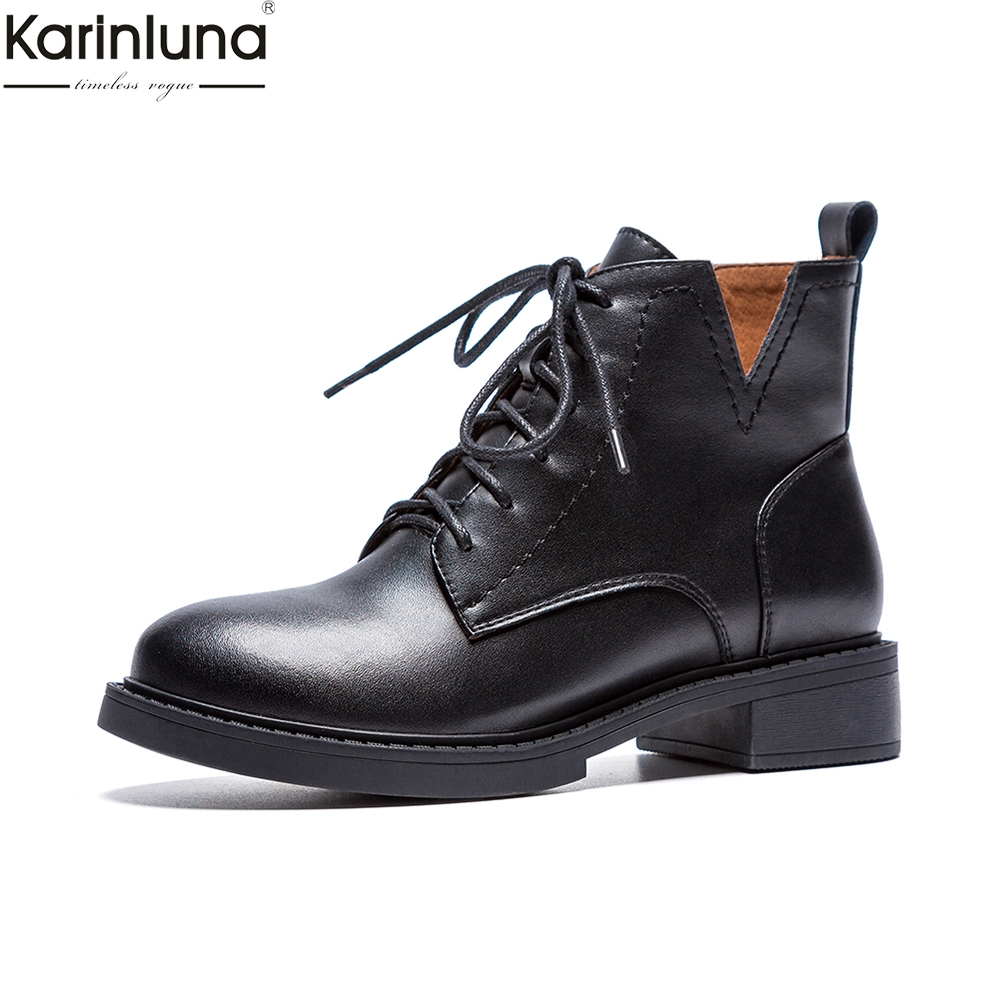 Karinluna brand new dropship genuine leather western Boots Women Shoes Woman chunky heel fashion lace up