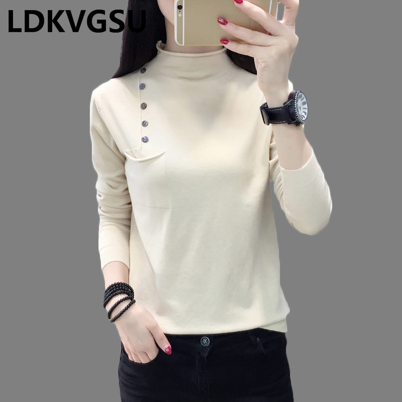 Half-high Collar Knit Shirt Long Sleeve Pullover Sweater Female Autumn Winter New 2018 Wild Loose Sweater 8Colors Is1328