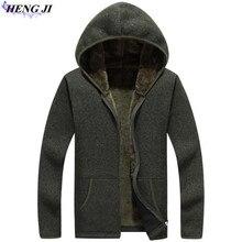 HENG JI Winter pack man hooded sweater, thick-zipped zipper warm cardigan, casual long-sleeved knitwear, loose man cardigan
