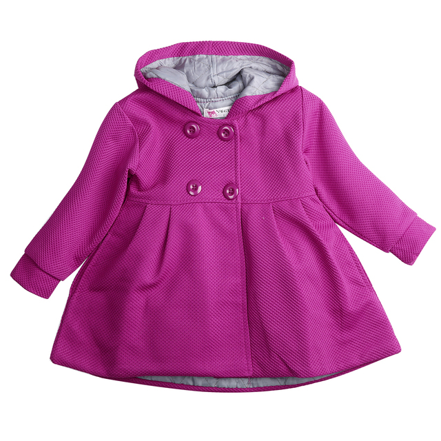 b7c70d0af 2016 Baby Toddler Girls Fall Winter Horn Button Hooded Pea Coat Outerwear  Jacket baby girl clothes jacket for girls winter coat