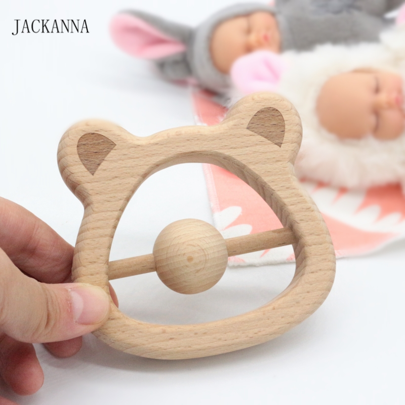 Beech Wood Teethers Wooden Bear Head Baby Rattle Teethers Hand Montessori Toy Eco-friendly Wood Play Gym Baby Chew Toys BPA Free