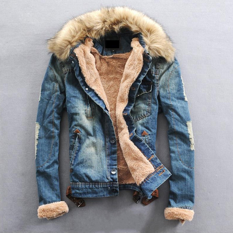 Popular Mens Fur Collar Denim Jacket-Buy Cheap Mens Fur Collar ...