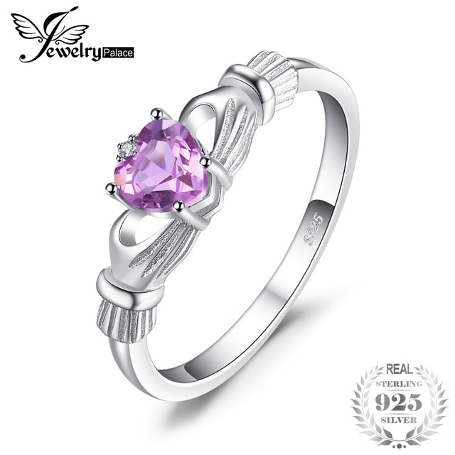 JewelryPalace Natural Amethyst Irish Claddagh Ring Solid 925 Sterling Silver Lov