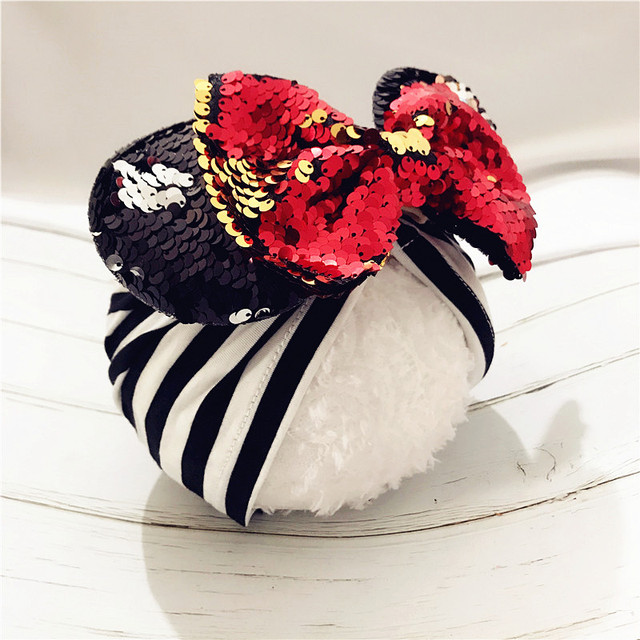 Ilkbahar/yaz bebek Bere Türban Şapka Bebek Minnie Mouse Kulaklar Kafa Bandı Pullu saç fiyonkları Fotoğraf Sahne kapağı