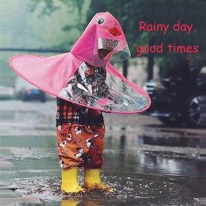 Image 5 - 귀여운 레인 코트 만화 오리 키즈 레인 코트 UFO 어린이 우산 모자 마법의 손 무료 탑스 소년과 소녀 Windproof Poncho Baby