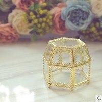 Glass jewelry box Princess European Korean accessories Storage Box hexagon Earrings storage box Wedding