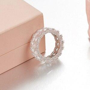 Image 5 - Sljely 925 prata esterlina brilhando quadrado completo zircônia cúbica cristal anéis de dedo feminino casamento luxo marca design jóias