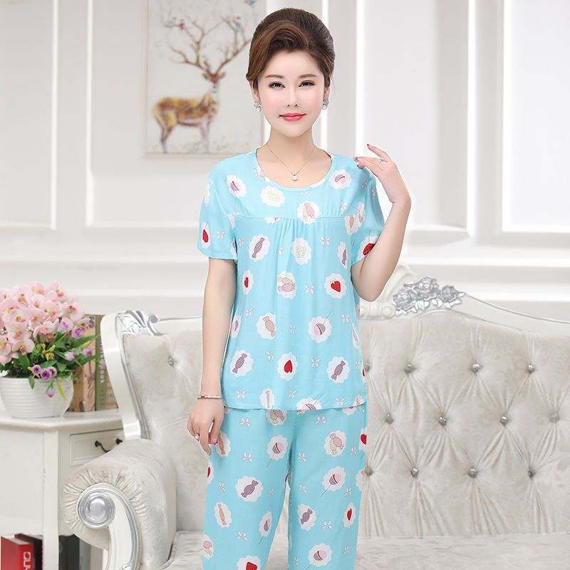 Mom Summer Thin Pajamas Set Cotton Stitch Female Pyjamas <font><b>Sexy</b></font> Print Female Shorts <font><b>Shirt</b></font> <font><b>2</b></font> Piece/Set Stitch Lingerie Sleepwear image