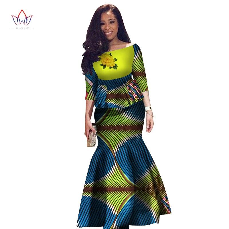 Женское платье Двойка комплект Для женщин с коротким рукавом топы и длинные юбка макси в африканском стиле Русалка Макси Костюмы 6XL BRW WY2631