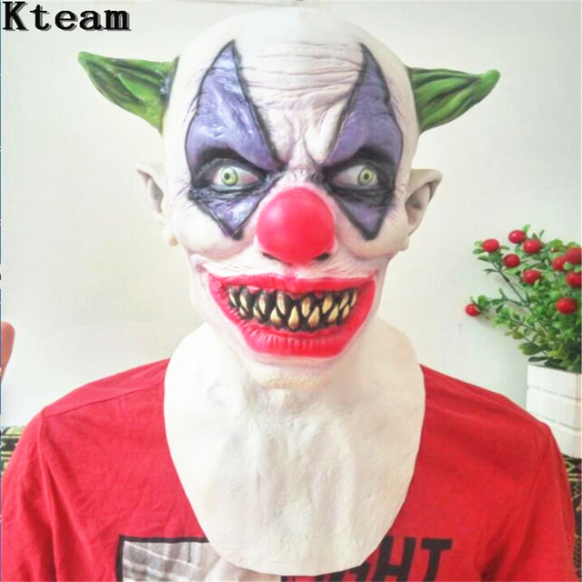 red nose scary clown mask full face horror masquerade adult ghost party joker mask halloween props