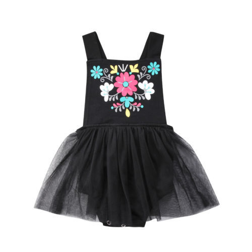 5c2abcf251a Newborn Infant Baby Girl Jumpsuit Bodysuit Clothes Outfit Baby Cute Solid  Floral Sleeveless Backless Tutu Mesh
