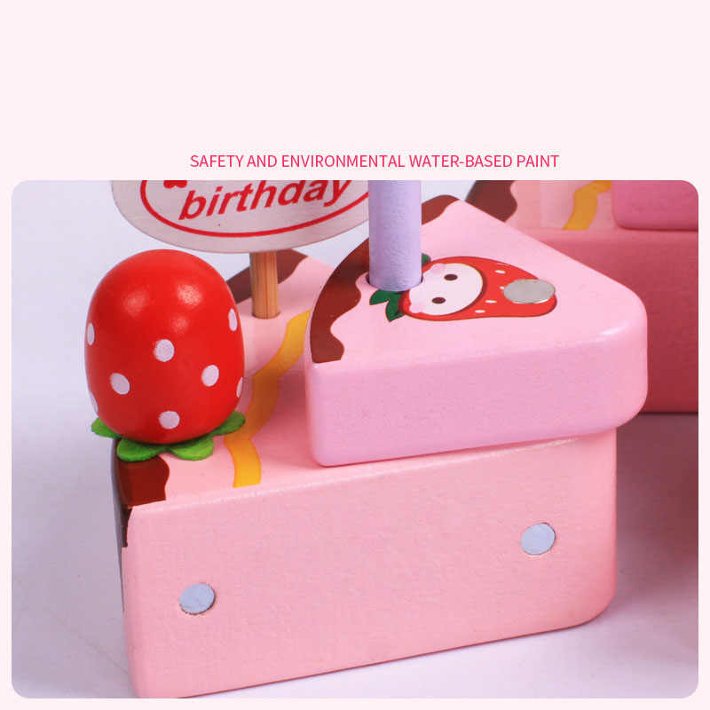 Baby Toys Simulation Magnetic Cake Wooden Set Pretend Play Kitchen Food Infant