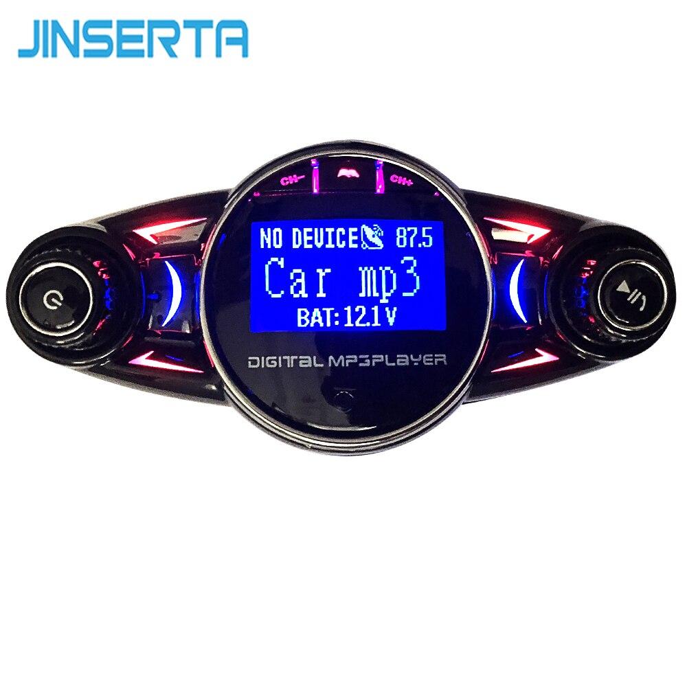 JINSERTA Bluetooth manos libres Kit de coche MP3 transmisor FM REPRODUCTOR DE Aux modulador con cargador USB TF Flash música