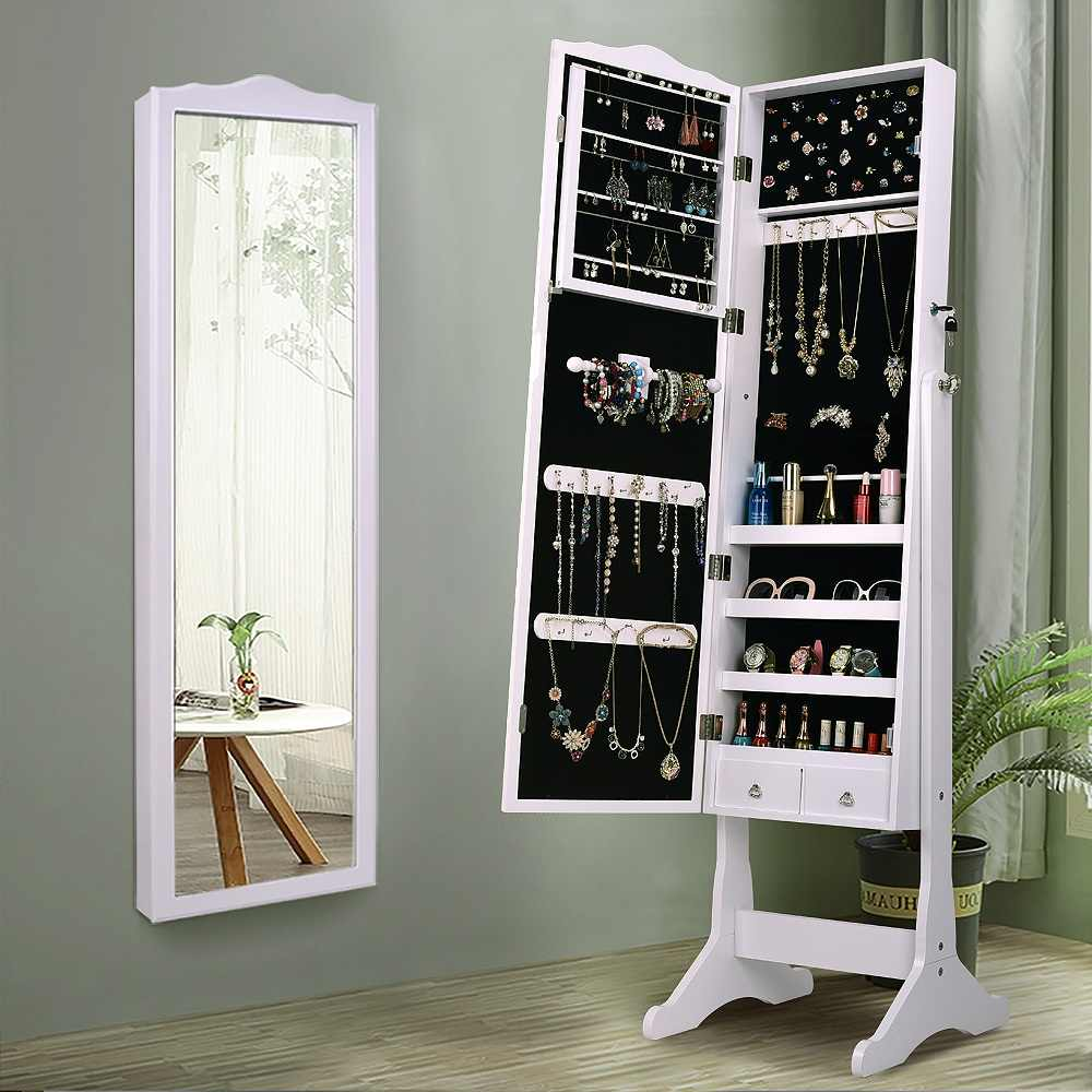 Lockable Jewelry Cabinet Organizer Storage Box Stand with Makeup