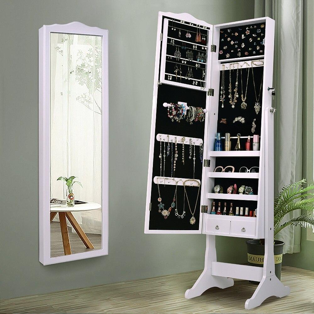 Caixa de Armazenamento Organizador Do Armário de Jóias com chave Stand com espelho de Maquiagem Cômoda Branco Mobiliário de Casa para o quarto