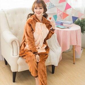 Image 3 - ผู้ใหญ่ Kigurumi Onesie อะนิเมะผู้หญิงเครื่องแต่งกายลิงสีน้ำตาลฮาโลวีนคอสเพลย์การ์ตูนสัตว์ชุดนอนฤดูหนาว Warm Hooded ชุดนอน