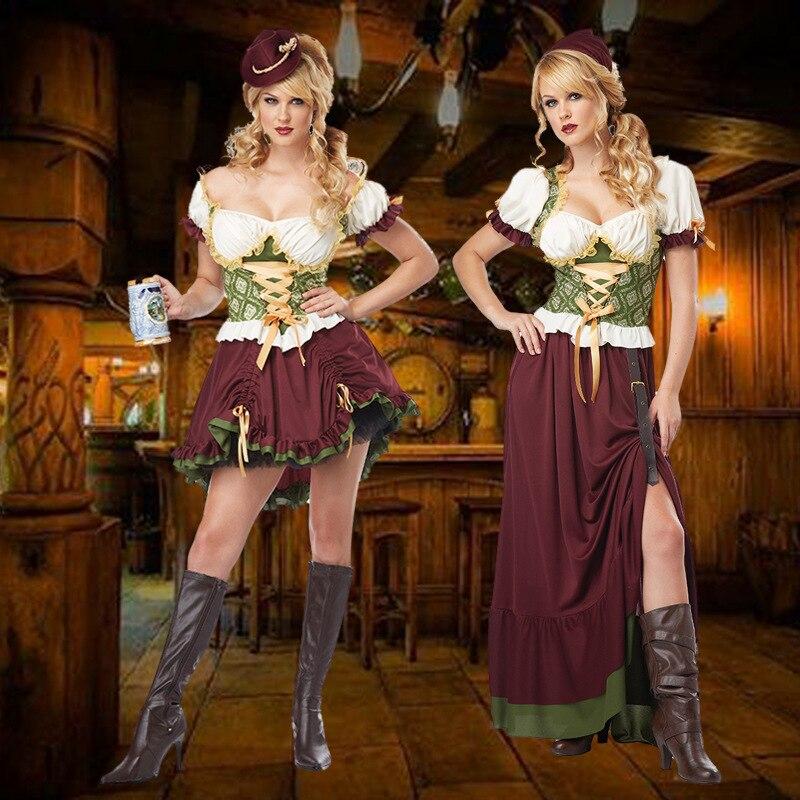 Arrived Oktoberfest Cosplay Costume Bavarian Octoberfest German Festival Beer Cosplay Halloween Costume For Women Loose Dresses