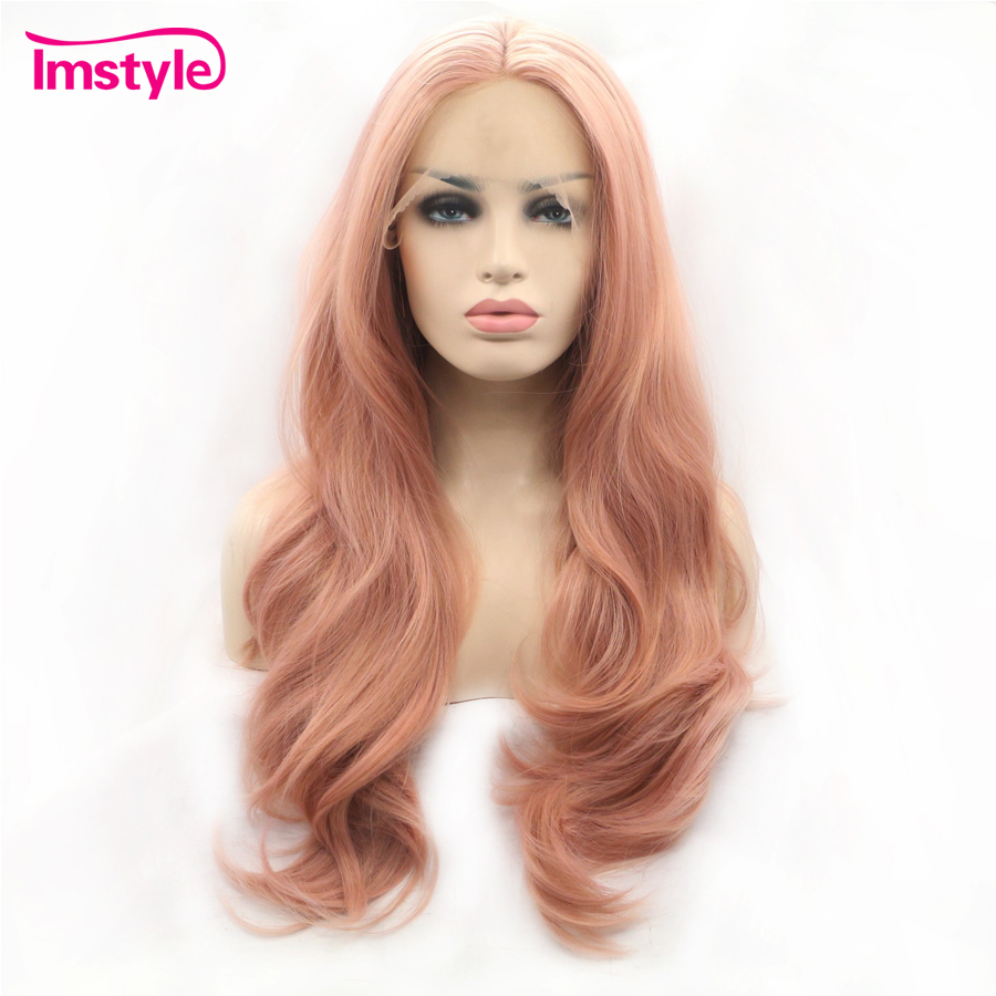 Imstyle Pink Wig Lace Front Wigs Synthetic Hair Lace Wig Long Natural Wavy Wigs For Women