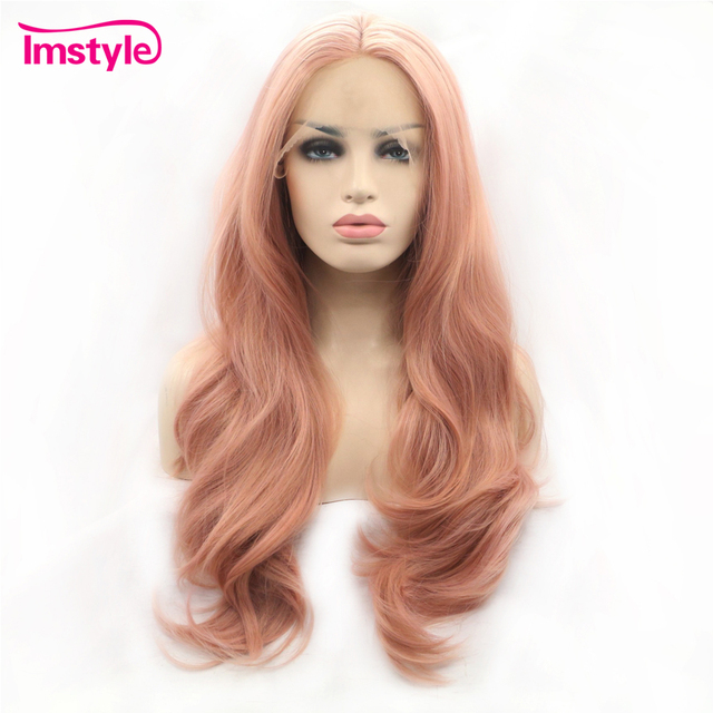 Imstyle Pink Wig Lace Front Wigs Synthetic Hair Lace Wig Long Natural Wavy Wigs For Women Heat Resistant Fiber Daily Wig
