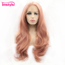 Imstyle ורוד פאת תחרה מול פאות סינטטי שיער תחרה פאת ארוך טבעי גלי פאות עבור נשים חום סיבים עמידים יומי פאה