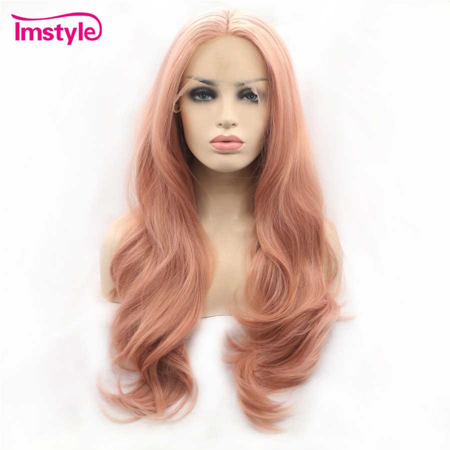 Imstyle парики на шнурках спереди розовые длинные естественные волнистые волосы парики для женщин термостойкие волокна синтетический парик на шнурках ежедневно Косплей