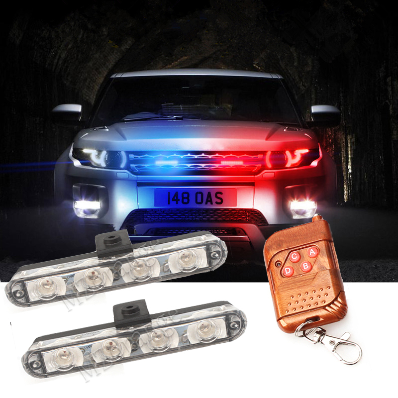 MZORANGE 12V 2X4LED Wireless Remote Ambulance Police Light Controll Flasher Car Strobe Warning Emergency External Light image