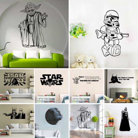 Star Wars Yoda Death Star Charature Wall Stickers Decals Wall Art For Kids Room Children Bedroom