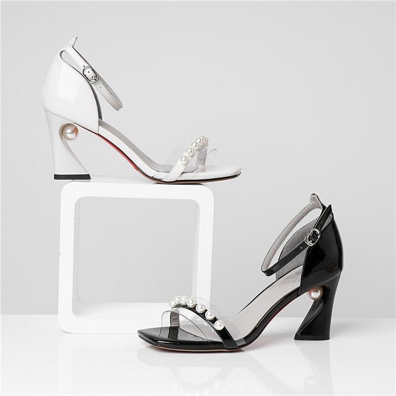 Zapatos Moda Verano Negro Señoras Esrfiyfe Genuino Cuero blanco Casuales 2019 Cadena Las Mujeres De Sandalias vzxaUwEq