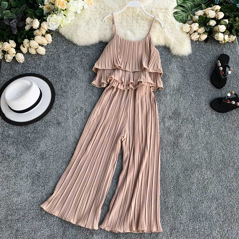 Amolapha для женщин платье с рюшами безрукавки для + широкие брюки шифоновые наборы однотонные женские оборками свободные 2 шт. летние комплекты
