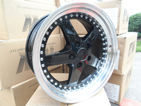 18X8.5/18X9.5 STAGGERED BLACK LIP EQUIP STYLE RIMS WHEELS FIT G35 G37 350Z W015