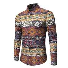 2018 Spring New Product Man Long Sleeve FLOWER men Shirt Orange camisa masculina color cotton slim fit mens business